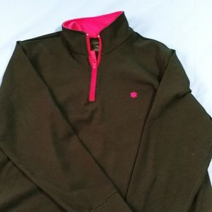 Black & pink 1/2 zip top